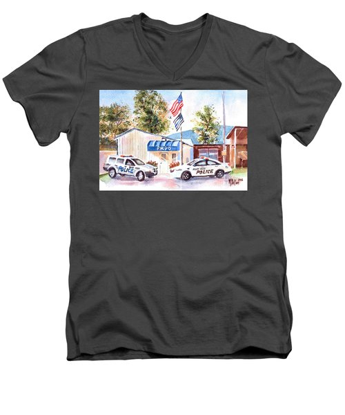Men's V-Neck T-Shirt featuring the painting The Thin Blue Line by Kip DeVore