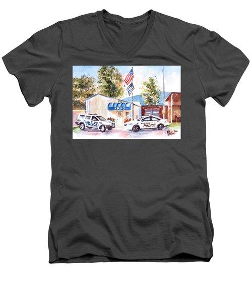 The Thin Blue Line Men's V-Neck T-Shirt