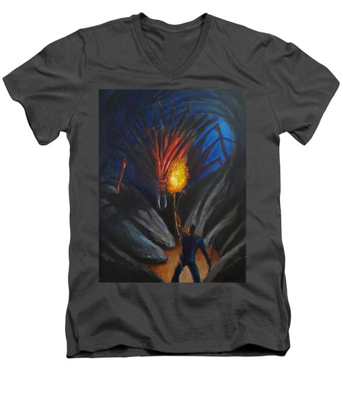 The Thing In The Cave Men's V-Neck T-Shirt by Chris Benice