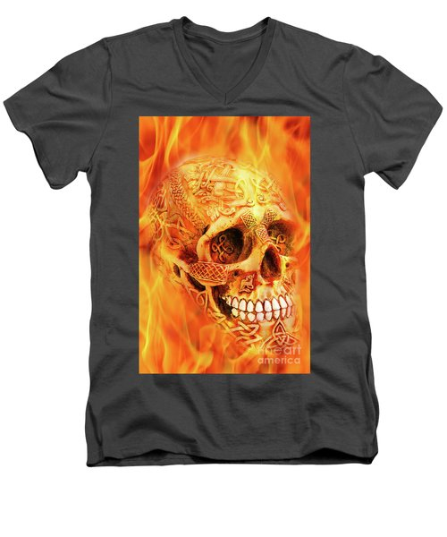 Flaming Skull Men's V-Neck T-Shirt
