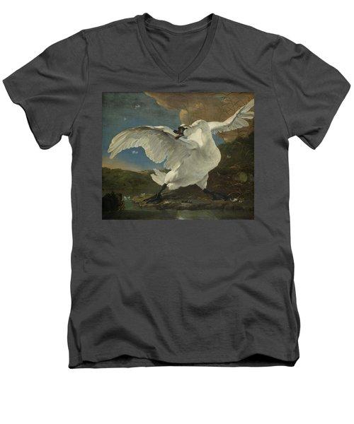 The Threatened Swan, 1650 Men's V-Neck T-Shirt