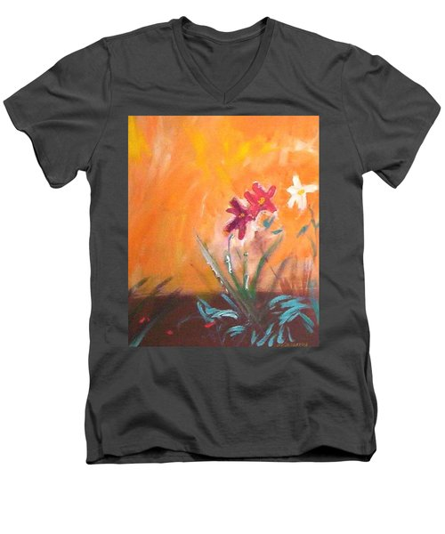Men's V-Neck T-Shirt featuring the painting The Three Daisies by Winsome Gunning