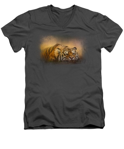 The Tiger Awakens Men's V-Neck T-Shirt by Jai Johnson