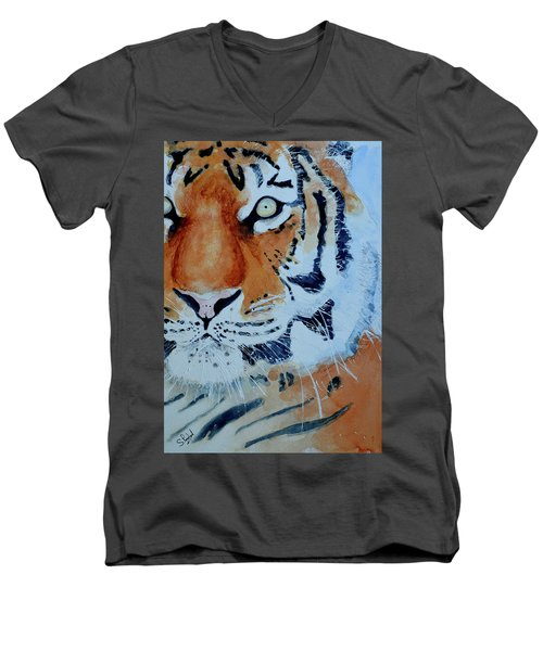 The Tiger Men's V-Neck T-Shirt by Steven Ponsford