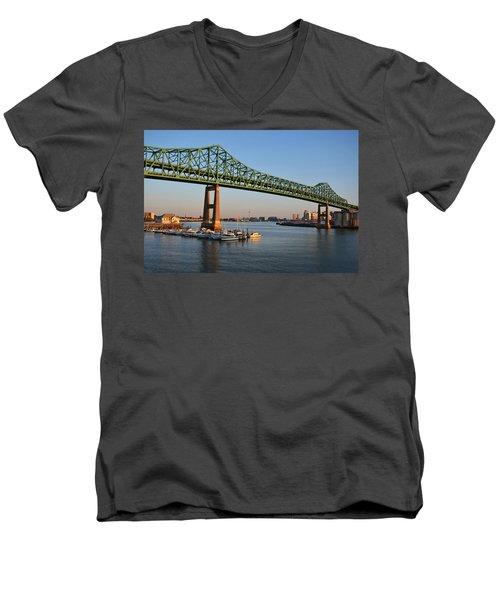 The Tobin Bridge Into The Sunset Chelsea Yacht Club Men's V-Neck T-Shirt