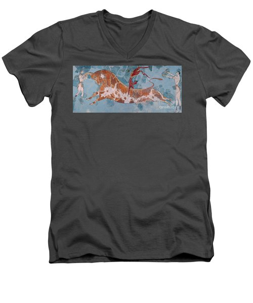 The Toreador Fresco, Knossos Palace, Crete Men's V-Neck T-Shirt