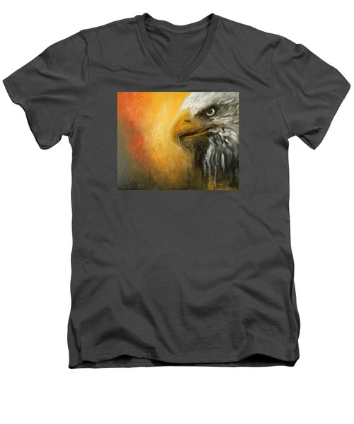Men's V-Neck T-Shirt featuring the painting The Totem by Jane See