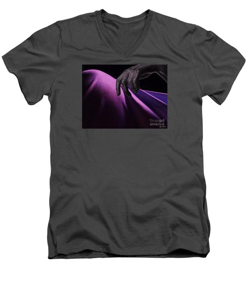 Men's V-Neck T-Shirt featuring the digital art The Touch by Lyric Lucas