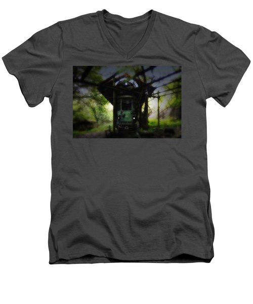The Tram Leaves The Station... Men's V-Neck T-Shirt