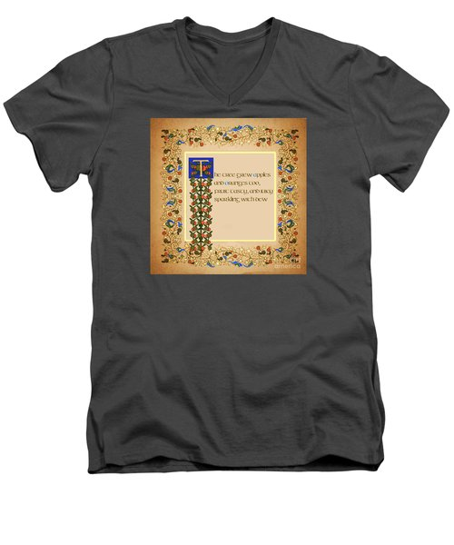 Men's V-Neck T-Shirt featuring the digital art The Tree Grew Apples Square by Donna Huntriss