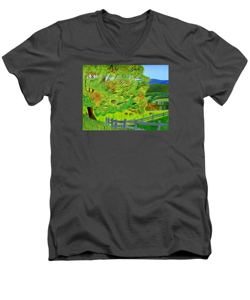 Men's V-Neck T-Shirt featuring the painting The Tree Of Joy by Magdalena Frohnsdorff