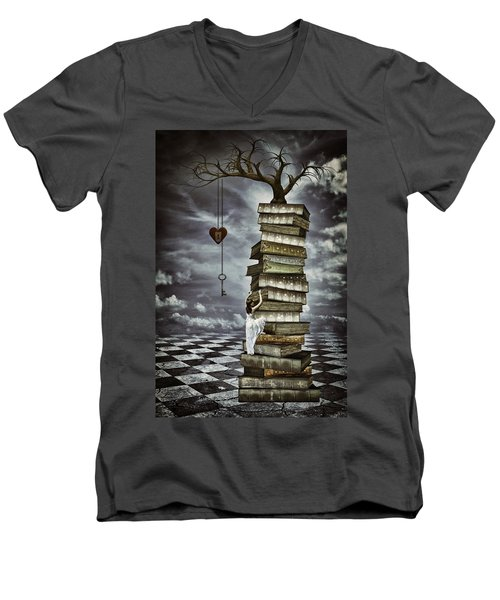 The Tree Of Love Men's V-Neck T-Shirt by Mihaela Pater
