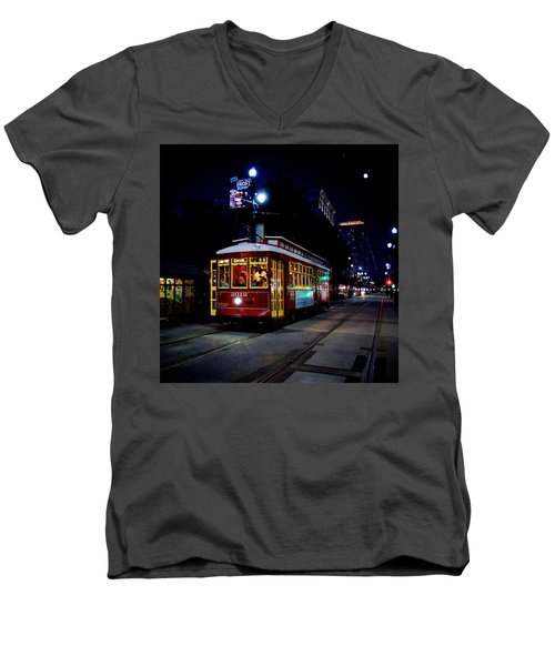 Men's V-Neck T-Shirt featuring the photograph The Trolley by Evgeny Vasenev