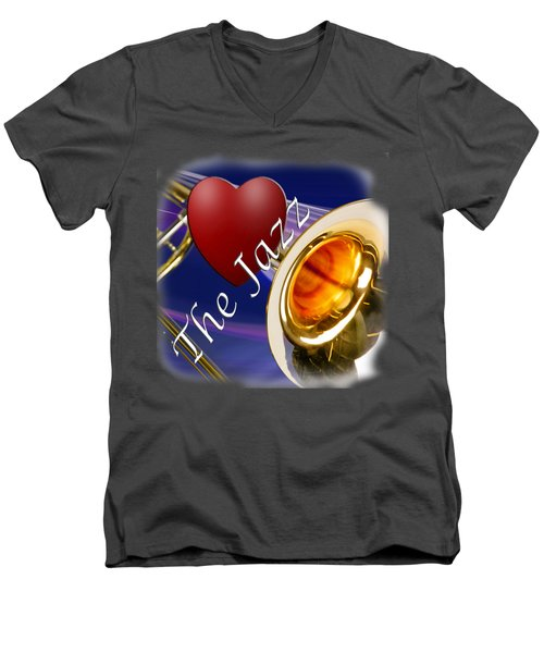The Trombone Jazz 002 Men's V-Neck T-Shirt by M K  Miller