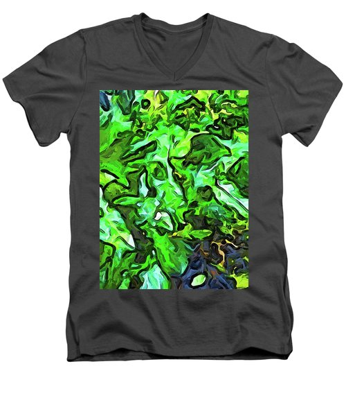 The Tropical Green Leaves With The Wings Men's V-Neck T-Shirt