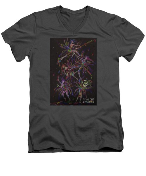 Men's V-Neck T-Shirt featuring the drawing The Trouble With Paint by Dawn Fairies