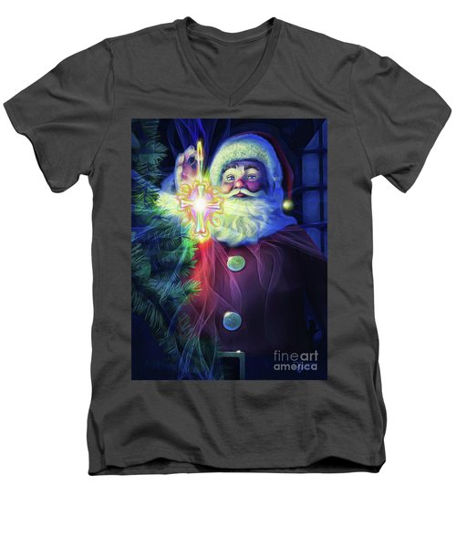Men's V-Neck T-Shirt featuring the painting The True Spirit Of Christmas - Bright by Dave Luebbert