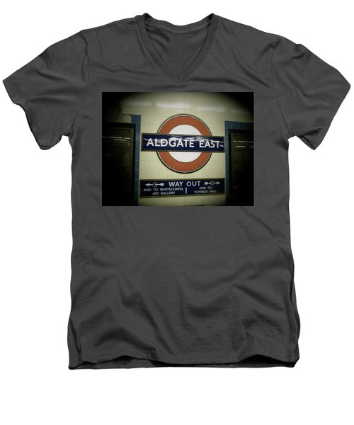 Men's V-Neck T-Shirt featuring the photograph The Tube Aldgate East by Christin Brodie
