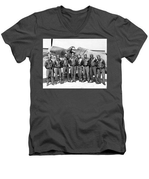 The Tuskegee Airmen Circa 1943 Men's V-Neck T-Shirt