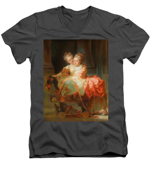Men's V-Neck T-Shirt featuring the painting The Two Sisters                                   by Jean Claude Richard