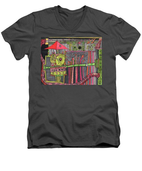 The Umbrella Roof Men's V-Neck T-Shirt by Sandra Church