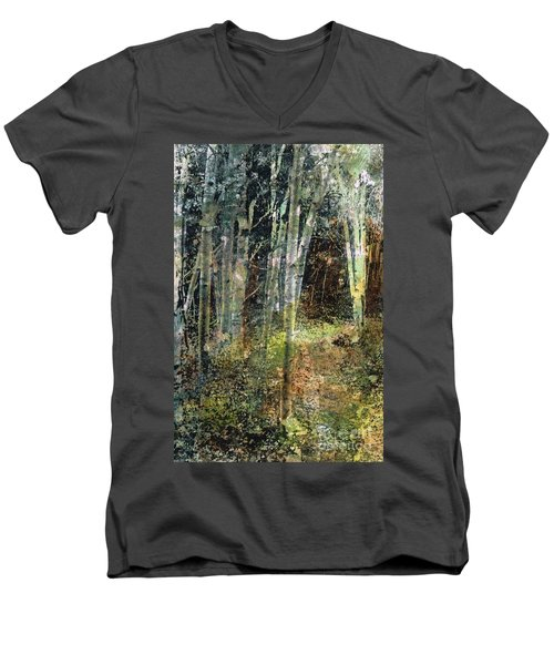 Men's V-Neck T-Shirt featuring the painting The Underbrush by Frances Marino
