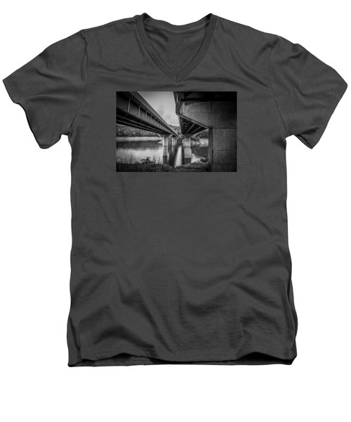 The Underside Of Two Bridges Men's V-Neck T-Shirt by Kelly Hazel