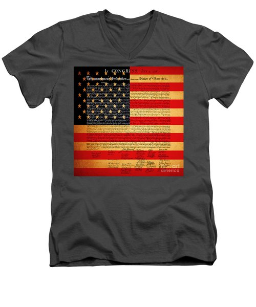 The United States Declaration Of Independence - American Flag - Square Men's V-Neck T-Shirt