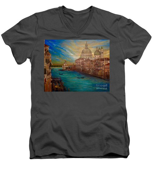 The Venice Of My Recollection With Digital Enhancement Men's V-Neck T-Shirt by Kimberlee Baxter