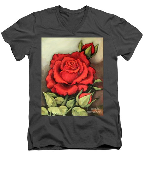 The Very Red Rose Men's V-Neck T-Shirt by Inese Poga