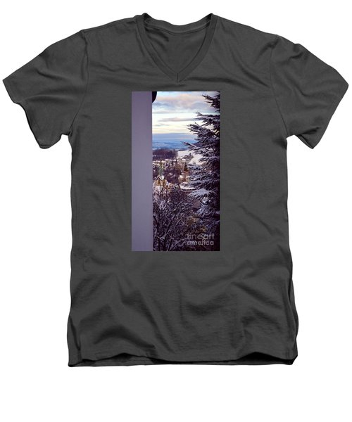 Men's V-Neck T-Shirt featuring the photograph The Village - Winter In Switzerland by Susanne Van Hulst