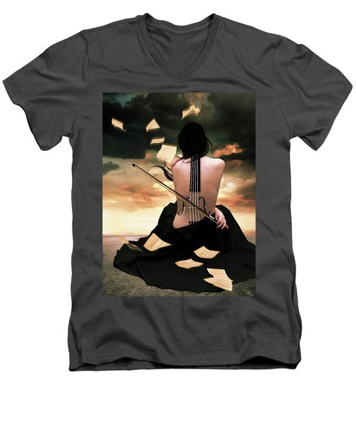 The Violin Song Men's V-Neck T-Shirt by Mihaela Pater
