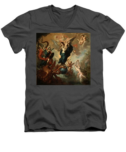 Men's V-Neck T-Shirt featuring the painting The Virgin Of The Apocalypse by Miguel Cabrera