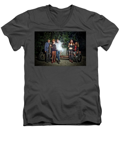 The Visitor Men's V-Neck T-Shirt by Jerry Golab