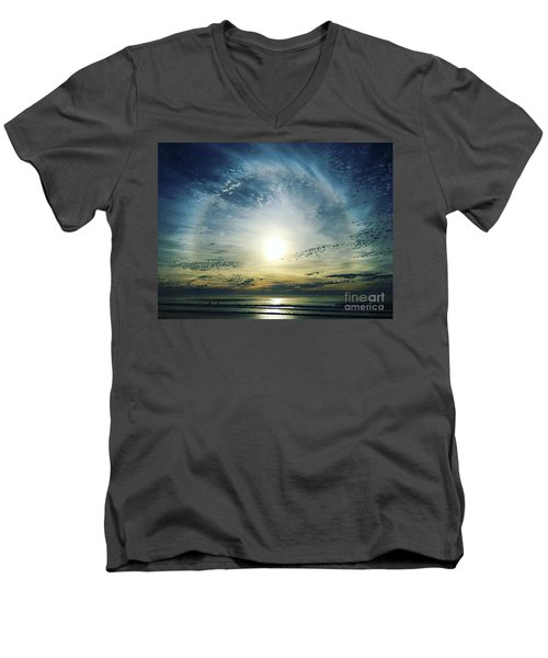 The Voice Of The Lord Is Over The Waters... Men's V-Neck T-Shirt by Sharon Soberon