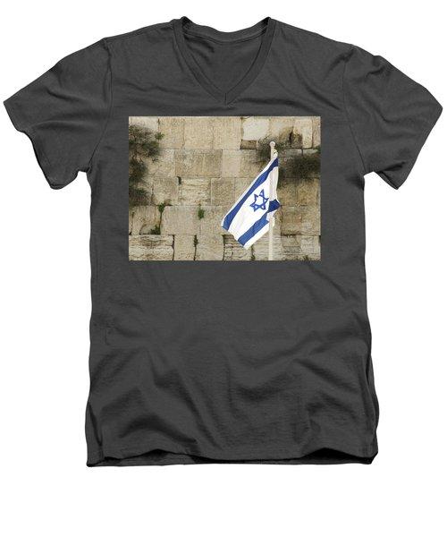 The Wailing Wall And The Flag Men's V-Neck T-Shirt by Yoel Koskas