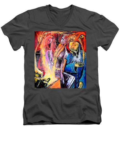 Men's V-Neck T-Shirt featuring the painting The Wake by Kenneth Agnello