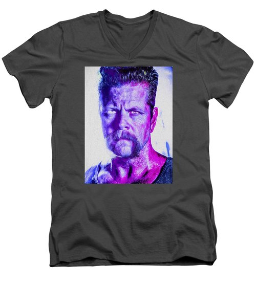 The Walking Dead Michael Cudlitz Sgt. Abraham Ford Painted Men's V-Neck T-Shirt by David Haskett