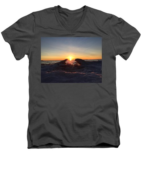 Men's V-Neck T-Shirt featuring the photograph The Walrus And The Bear by Paula Brown