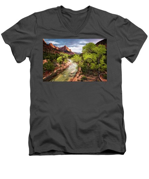 The Watchman Men's V-Neck T-Shirt by Eduard Moldoveanu