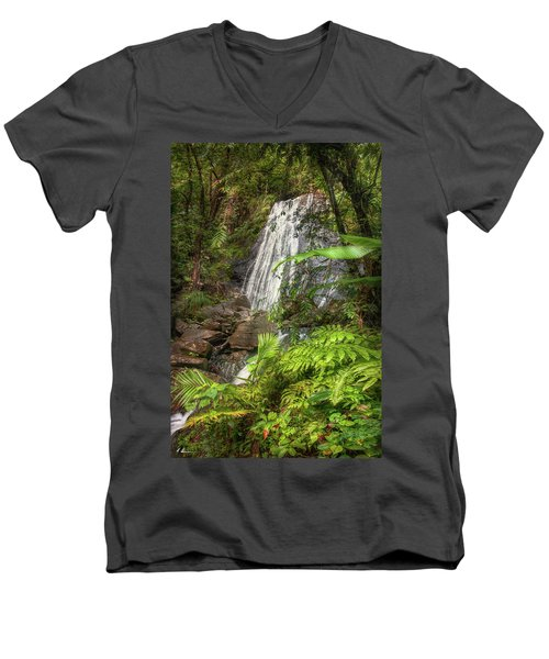 Men's V-Neck T-Shirt featuring the photograph The Waterfall by Hanny Heim