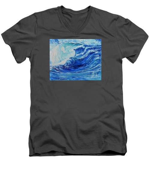 Men's V-Neck T-Shirt featuring the painting The Wave by Teresa Wegrzyn