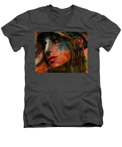 Men's V-Neck T-Shirt featuring the painting The Way We Were  by Paul Lovering
