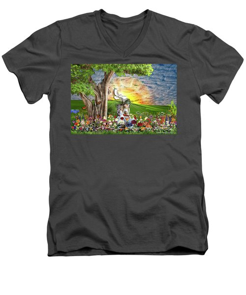 The Weary Warrior  Men's V-Neck T-Shirt by Dolores Develde