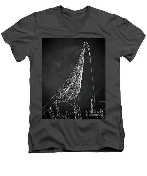 Men's V-Neck T-Shirt featuring the photograph The Web by Tom Cameron