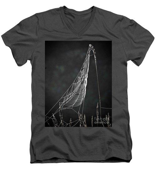 The Web Men's V-Neck T-Shirt by Tom Cameron