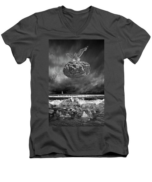 Men's V-Neck T-Shirt featuring the photograph The Weight Is Lifted by Randall Nyhof