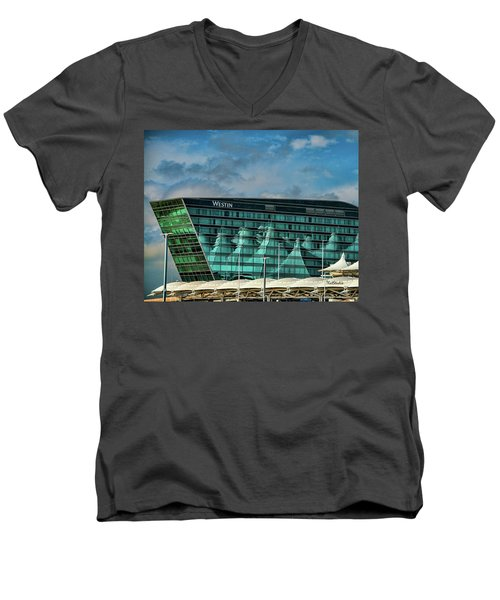 Men's V-Neck T-Shirt featuring the photograph The Westin At Denver Internation Airport by Tim Kathka