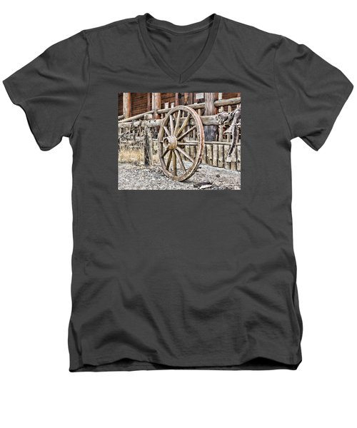 Men's V-Neck T-Shirt featuring the photograph The Wheel Rolls On by B Wayne Mullins