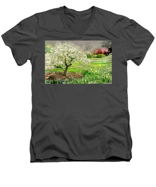 Men's V-Neck T-Shirt featuring the photograph The White Canopy by Diana Angstadt